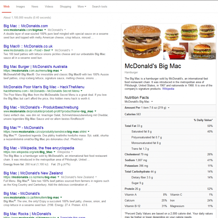 big mac mcdonalds Google